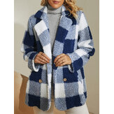 Women Plaid Warm Fluffy Plush Double Breasted Coat With Pocket