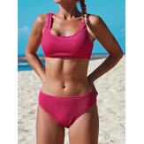 Women Wide Shoulder Straps Solid Color U-Neck Beach Bikini