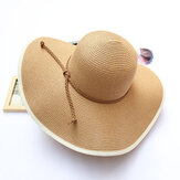 Femmes Été Wide Birm Bucket Hat de paille Voyage en plein air Sunshade Visor Beach Hat