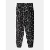 Jogger informal para el hogar con cintura elástica y estampado de graffiti para hombre Pantalones con bolsillo