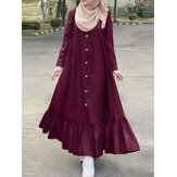 Women Solid Color Cotton Long Sleeve Ruffle Casual Loose Maxi Dress