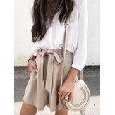 Femmes été taille haute noeud ceinture tous les jours shorts à jambes larges occasionnels