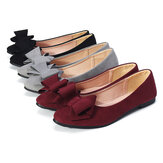 Women Ballet Bowknot Flat Shoes Cotton Lined Pointed Toe Loafers Dress Leisure Walkinng Boat Shoes