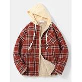 Mens Vintage Plaid Multi Pocket Warm Faux Fur Lined Hooded Jacket