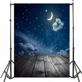 3x5FT Vinyl Moon Night Sky Star Wood Floor Fotografia Sfondo Sfondo Studio Prop