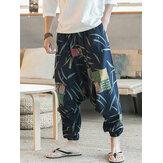Erkek Etnik Desen Printe Floral Harem Yoga Şalvar Pantolon