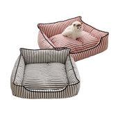 2色ストライプパターンペットソファーベッドマット犬猫ソファー犬小屋ペットベッド