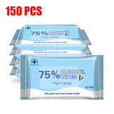150 Pcs 75% Medical Alcohol Wipes 99.9% Antibacterial Disinfection Cleaning Wet Wipes Disposable Wipes for Cleaning and Sterilization in Office Home School Swab