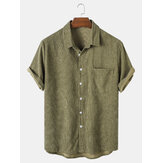 Mens Corduroy Solid Turn Down Collar Short Sleeve Shirts