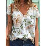Kadın için Çiçek Baskı V Yaka Kısa Kollu Casual T-Shirt
