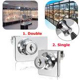 / Doppio vetro armadietto porta camma di blocco del display vetrina singolo tasto di chiusura con 2 chiavi