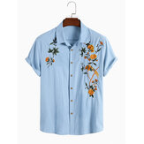 Mens Cotton Breathable Floral Embroidered Button Up Casual Shirts