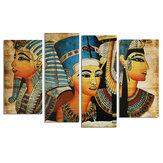 4個のキャンバスプリント絵画エジプトのファラオ油絵壁装飾印刷アート画像フレームレスホームオフィス装飾