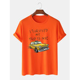 100% Cotton Mens Funny Cartoon Car Patrón Script Print Camisetas básicas