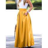 Women Solid Color High Waist Big Swing Zipper Casual Loose Long Skirt With Pocket