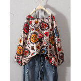 Plus Size Vintage Floral Print Round Neck Three Quarter Sleeve Cotton Linen Blouse