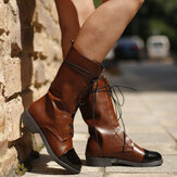 Large Size Women Lace Up Block Heel Mid Calf Riding Boots