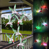 Color Changing LED Solar Power Lamp Hummingbird Wind Chime Light Hanging Decor