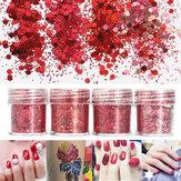 Rojo Uña Art Brilho Powder Sequins Consejos de Decoración 3D Mixed Dust