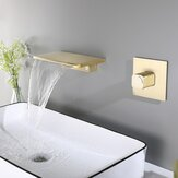 Modern Single Handle Wall Mount Faucet Waterfall Spout Bathroom Tub Faucet Basin Concealed Tap Hot Cold Water Mixer