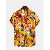 Mens Óleo Pintura Floral Impresso Holiday Chest Pocket Lapela Camisas de lapela Colalr