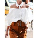 Kapalı Omuz Düğmesi Yaka Günlük Casual Bluz Kadın için