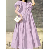 Vestidos maxi pregueados femininos com manga arredondada decote redondo em camadas simples cor sólida