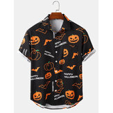 Banggood ontworpen heren Happy Halloween Cartoon Print casual shirts met korte mouwen