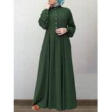Vestido feminino 100% algodão sólido retrô mandarim com gola estufada manga comprida com botão