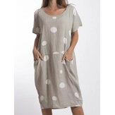 Women Polka Dots Printed Midi Crew Neck Casual Dress
