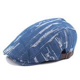 Unisexe Hommes Femmes Denim Jeans Lavé Beret Hat Casual Duckbill Golf Buckle réglable Cabbie Cap