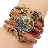 Mariposa retro Infinity combinación pulsera trenzada impresa girasol tiempo decoración de piedras preciosas pulsera multicapa hecha a mano