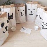 Miúdos kraft crianças brinquedos de papel de parede saco de armazenamento bebê bonito carta animais roupas Diversos bolso arrumado