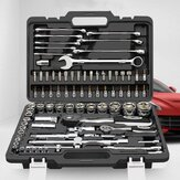 CREST 82Pcs Ratchet Socket Wrench  Repair Tools Set Auto Repair Machine with Plastic Toolbox