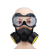 Double Filter Gas Mask Chemical Spray Paint Oil Smoke Dust Protection Mask with Goggles