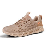 Men's Fish Scale Casual Lace-up Comfortable Running Shoes Breathable Gym Fly Woven Sneakers