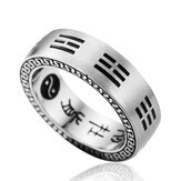 Titanium Steel Nine Words Mantra  Rings Chinese Gossip Yin Yang Finger Ring For Men