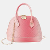 Women PU Leather Color Gradients Fashion Shell Shape Chain Handbag Shoulder Bag Cross Body Bag
