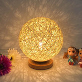 Rattan Ball Night Light Table Bedside Lamp Bedroom Home Decor Valentine Gift