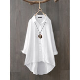 Original              100% Cotton Casual Loose Lapel Solid Shirts For Women
