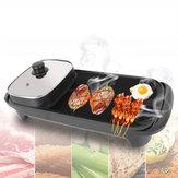 2-in-1220V1360WattElektrische Teppanyaki Grill BBQ Grill Pan Tabelle Hotpot Ofen Kochherd