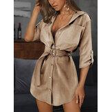 Damska luźna, luźna sukienka z klapami na klatkę piersiową z paskiem