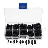 Suleve ™ M3NH1 M3 Nylon Sekrup Hitam Hex Mur Sekrup Nylon PCB Standoff Assortment Kit 300 pcs