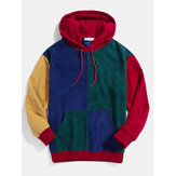 Herren Retro Color Block Patchwork Cord Drawstring Hoodies