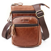 Men Phone Bag Multifunction Oil Wax  Crossbody Bag Waist Bag