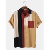 قمصان رجالي كاجوال قطن 100٪ مرقعة بأكمام قصيرة
