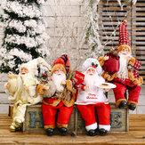 Christmas Sitting Santa Padrão Kids Toys Christmas Gift Claus Boneca Christmas Tree Accessories Santa Ornament Ano Novo Desktop Decoração de casa