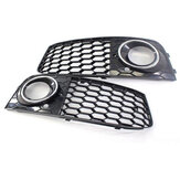 Pair Glossy Black Front Bumper Fog Light Grille  Grill Cover For Audi A4 B8 RS4 style 2009-2012