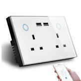MAKEGOOD 2 Gang WIFI Smart USB-stikkontakt UK elektrisk stikudgang 15A Power Touch-switch Trådløs Homekit-opladning Arbejde med Alexa Google Home