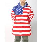 Homens American Flag Padrão Cobertor de flanela com capuz e roupões de dormir grandes para casa